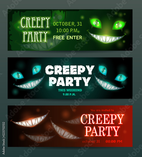 creepy party banners layouts set vector scary night invitation