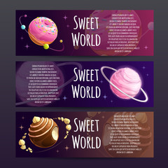 Sweet planets banners set. Candy shop advertising.