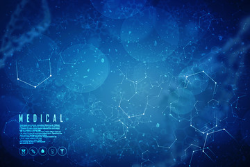 3d render of dna structure, abstract background Wall mural