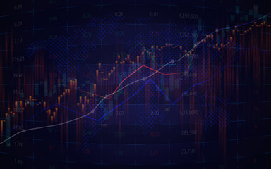 Candlestick graph in stock market of forex trading with graphic design for business or financial concept