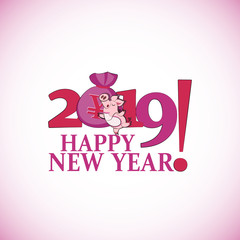 Cute pink pig with a bag of Chinese money. Happy New Year. Chinese symbol of the 2019 year. Greeting card, festive gift card with a festive greeting. Chinese New Year.