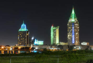 Night Falls on the Buildings and Architecture of Mobile Alabama