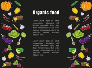 Advertising poster for the grocery store. Template for organic food label on dark background. Seasonal vegetables and healthy food.