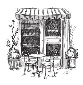 Little cosy cafe. Vector sketch
