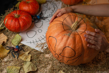 Preparing pumpkins for Halloween, with candles