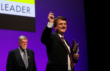 UKIP leader Gerard Batten waves after speaking during the UKIP party conference in Birmingham