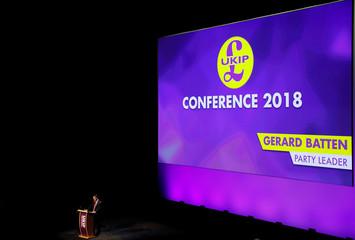 UKIP leader Gerard Batten speaks during the UKIP party conference in Birmingham