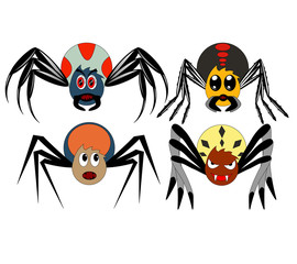 A set of four cartoon spiders of different shapes and colors