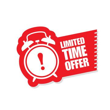 Limited time offer sticker - ringing alarm clock, sale symbol