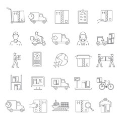 Delivery icons set, outline style