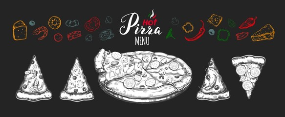 Hot Pizza set with ingredients and different types of pizza slices 1