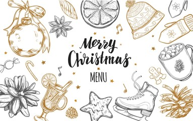 Merry Christmas festive Winter Menu. Design template 2