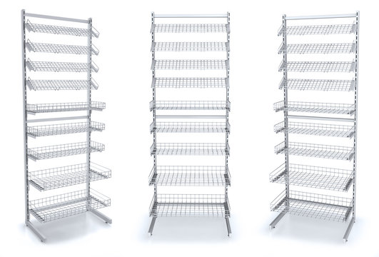 Display cash metal with wire shelves, 3d illustration isolated on white
