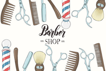 Hand drawn Barber Shop background  with doodle razor, scissors, shaving brush,  comb, classic barber shop Pole. Sketch. Lettering. Vector illustration. For flyer, brochure. Advertising