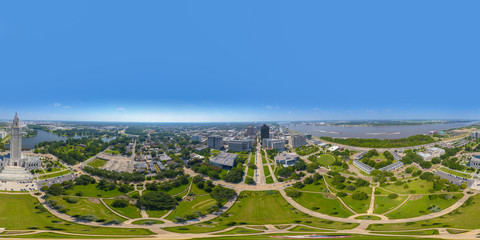 Aerial 360 spherical equirectangular image of Baton Rouge Louisiana