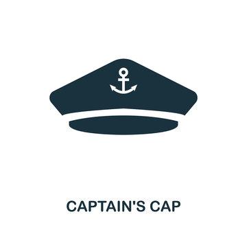 Captain'S Cap icon. Monochrome style design. UI. Pixel perfect simple symbol captain's cap icon. Web design, apps, software, print usage.