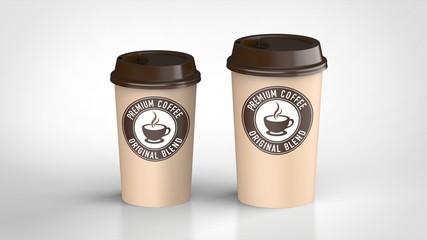 コーヒーカップ ラージとミディアム 茶色ロゴ入り