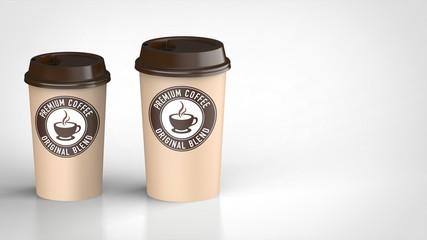 コーヒーカップ ラージとミディアム 茶色ロゴ入り 左