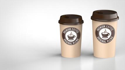 コーヒーカップ ラージとミディアム 茶色ロゴ入り 右