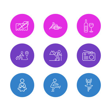 Vector illustration of 9 activities icons line style. Editable set of yoga, pasta, skating and other icon elements.