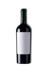 d wine and a bottle for mockup with clipping path. isolated over white background.