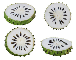 Fototapete - Annona muricata.oursop fruit (Sugar Apple,ustard apple) isolated on white background