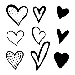 Set of black hand drawn hearts on white background. Design elements for Valentine's day. Hand-drawn painted hearts for t-shirt print, flyer, poster design.