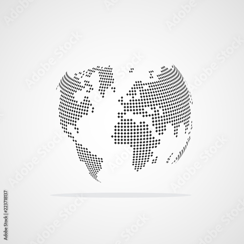 Dotted World Map. Vector illustration.\