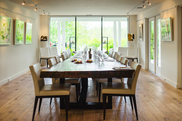 Dining table set for wine sampling at a winery