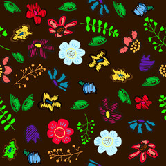 Floral garden. Holiday illustration for Day of the dead or Halloween.