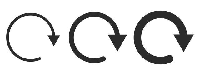 Set of black circular arrows. Vector illustration. Fotomurales