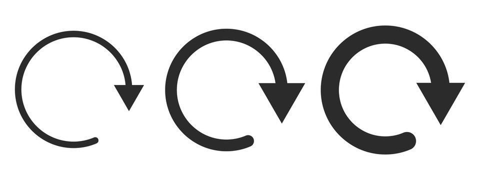 Set of black circular arrows. Vector illustration.