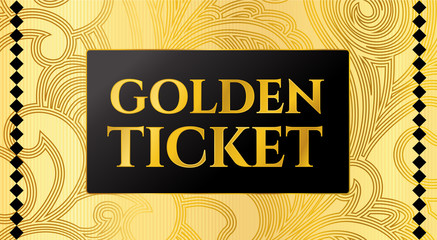Golden ticket template, Concert ticket on gold background with curve floral pattern. Useful for any movie festival, party, cinema, event, entertainment show