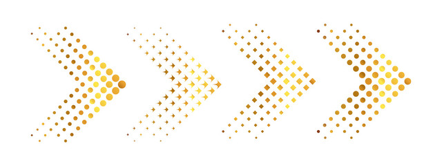 Set of gold arrows with halftone effect. Vector illustration