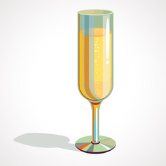 Cartoon full glass of champagne. vector drawing
