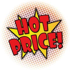 hot price cartoon comic speech bubble explosion banner