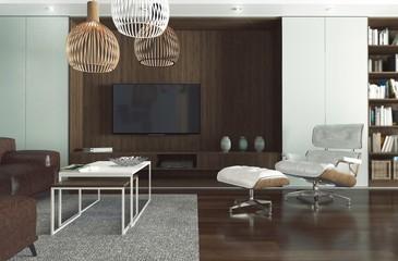 Pokój dzienny z telewizorem, zaprojektowany jako kompozycja jasnej szarości i ciemnego drewna