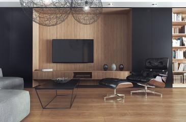 Pokój dzienny z telewizorem, zaprojektowany jako kompozycja czerni i jasnego drewna