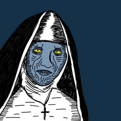 spooky nun obsessed by demon