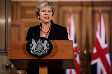 Britain's Prime Minister Theresa May makes a statement on Brexit negotiations with the European Union at Number 10 Downing Street, London