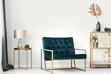 Dark green sofa with golden frame by a white wall with molding in an elegant living room interior with expensive decor