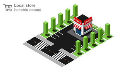 Isometric small local store vector illustration.