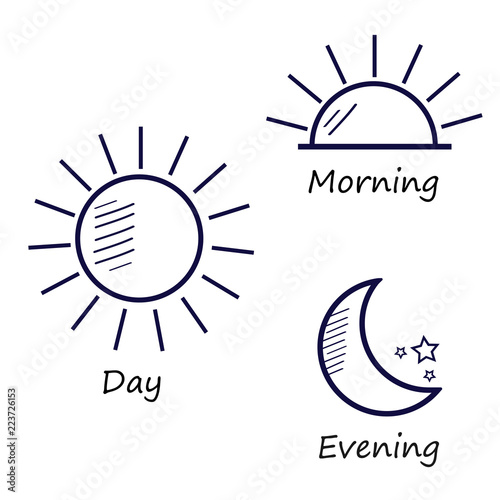Time Of The Day Simple Icons Set Sunrise Sun Sunshine Moon And