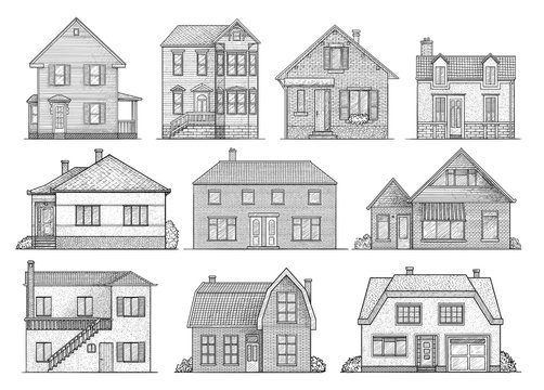 House illustration, drawing, engraving, ink, line art, vector
