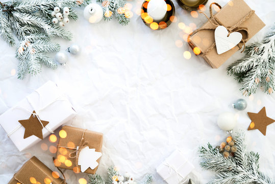 Christmas and New Year holiday background. Xmas greeting card. Christmas gifts on white background top view. Flat lay