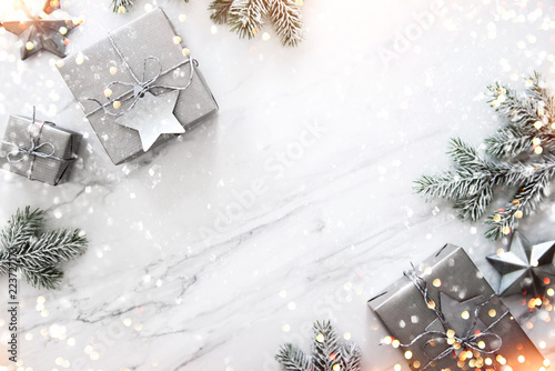 Christmas and new year holiday background xmas greeting card christmas and new year holiday background xmas greeting card christmas gifts on white marble m4hsunfo