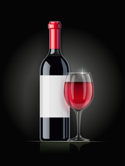 Red Wine bottle and wineglass. Concept design for wines menu