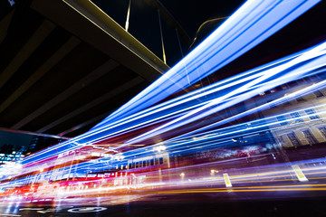 Long exposure, car light trails, transport lights Fototapete