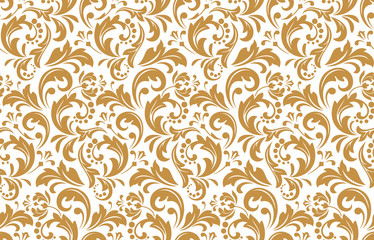 Flower pattern. Seamless white and gold ornament. Graphic vector background. Ornament for fabric, wallpaper, packaging
