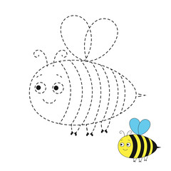 drawing worksheet for preschool kids with easy gaming level of difficulty. Simple educational game for kids. Illustration of funny bee for toddlers